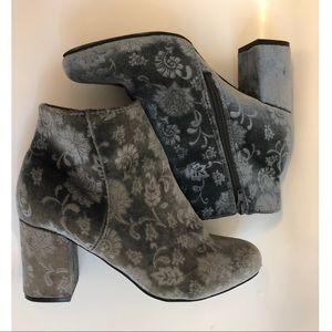 Crushed velvet floral boots.
